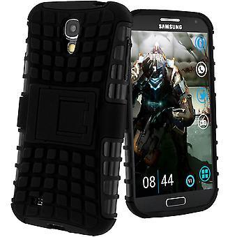 Caso a prueba de choques, Backcover para Samsung Galaxy S4 y pata de cabra - negro
