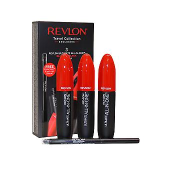 Revlon Ultimate All in One Mascara 3 x 8.5ml Blackest Black + Eye Liner