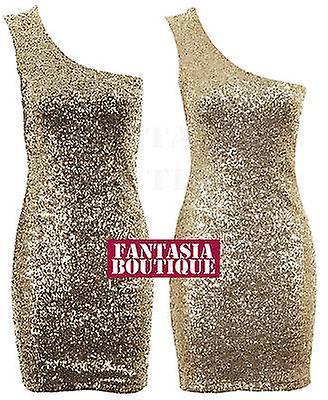 Ladies Sleeveless Gold Sequin Shoulder Strap Plain Back Womens Dress