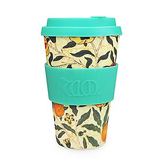 Ecoffee Cup & William Morris Pomme with Turquoise Silicone 14oz