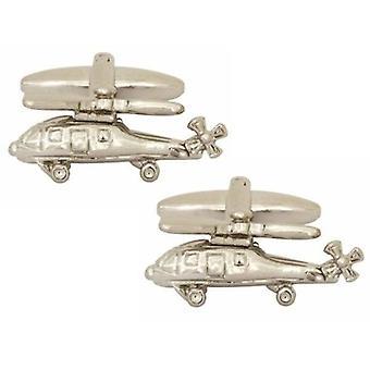 Zennor Helicopter Cufflinks - Silver