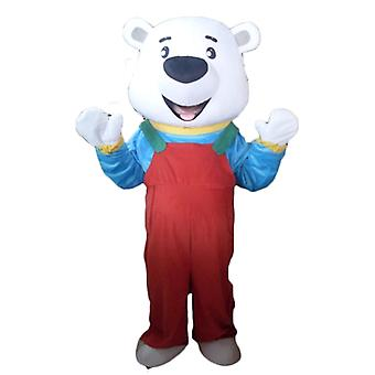 mascot SPOTSOUND of white bear with red overalls and a t-shirt