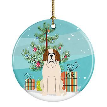 Merry Christmas Tree Saint Bernard Ceramic Ornament