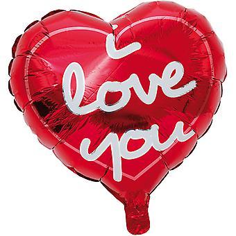 """Sydämen muotoinen ilmapallo sanat """"rakastan sinua"""""""
