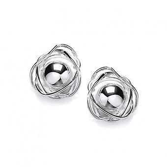 Cavendish franske sølv indlejrede bold øreringe