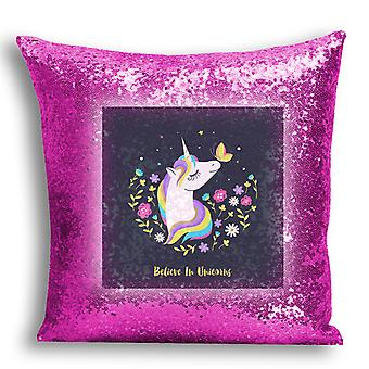 i-Tronixs - Unicorn Printed Design Pink Sequin Cushion / Pillow Cover for Home Decor - 14