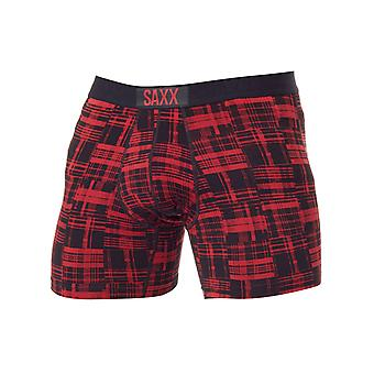 Saxx Red Patched Plaid Vibe Boxer Shorts