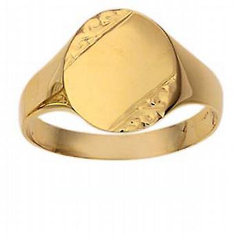 9ct goud 14x12mm gents gegraveerd ovale Signet Ring grootte R