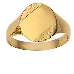 9ct Gold 14x12mm gents engraved oval Signet Ring Size V
