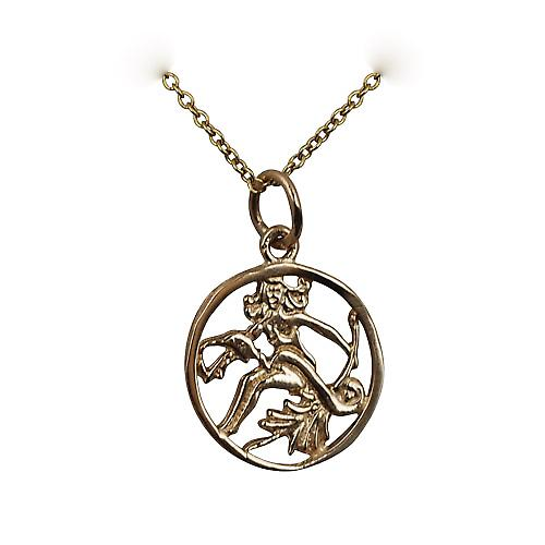 9ct Gold 11mm pierced Virgo Zodiac Pendant with Cable link Chain