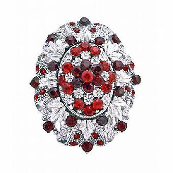 Silver Casting dekorerte Siam røde krystaller Vintage kjolen brosje