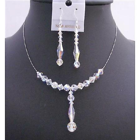 Swarovski AB Crystals Bridal Wedding Necklace Set 6mm Bicone Round