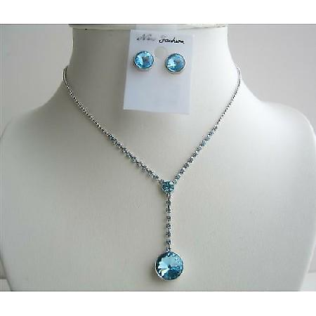 Blue Crystal Vingtage Necklace Sets Crystal Stud Dangling Jewelry set