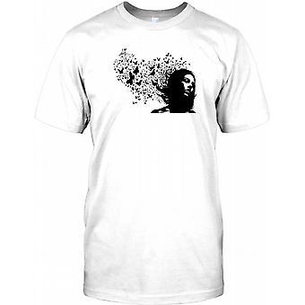 Mädchen mit Schmetterlingen - coole Grafik-Design-T-Shirt für Herren