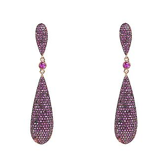 Long Drop Ruby Red Pink CZ Earrings Yellow Gold Gemstone Tear Party Big Sparkly
