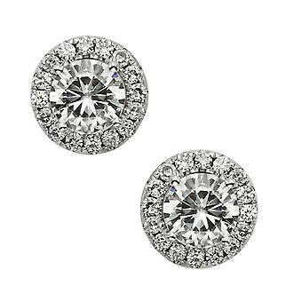 14K White Gold Moissanite by Charles & Colvard 5.5mm Round Stud Earrings, 1.52cttw DEW