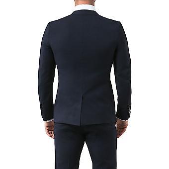 Utnyttja London Mens Navy kostym kavaj Slim Fit Notch kavajslag