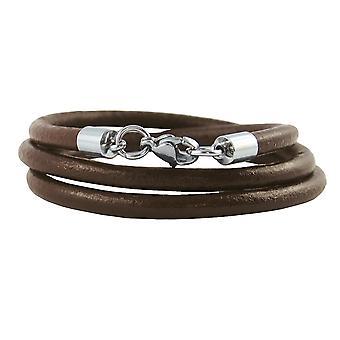 Læder halskæde 6 mm Herre halskæde brun 17-100 cm lang med lobster clasp sølv tone