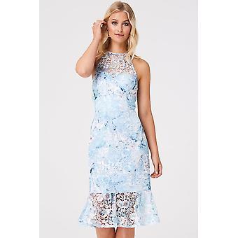 Paper Dolls Britten Blue Floral Lace Pephem Dress