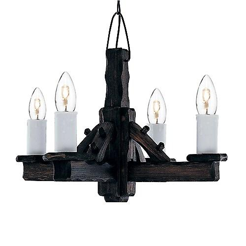 Searchlight LL-4 Rustic 4 Light Rustic Wood Jacobean Style Pendant