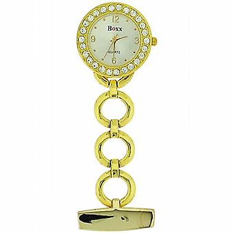 Boxx Glamour Gold Tone ronde Open Link professionele Fob horloge BOXX10
