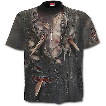 Spiraal-Zombie wrap-allover gedrukt korte mouw t-shirt, zwart