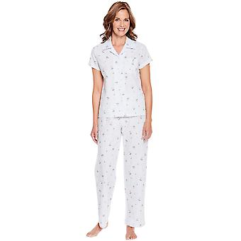 Ladies Womens Woven Floral Pyjama
