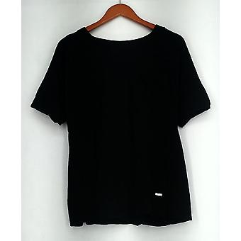 Isaac Mizrahi Live! T-Shirt Top SOHO Double Cuff Black A276927