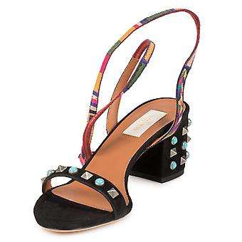 Valentino Black Suede Multicolored Rockstud Sandals