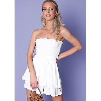Stropdas taille Shirred strapless boxpakje wit