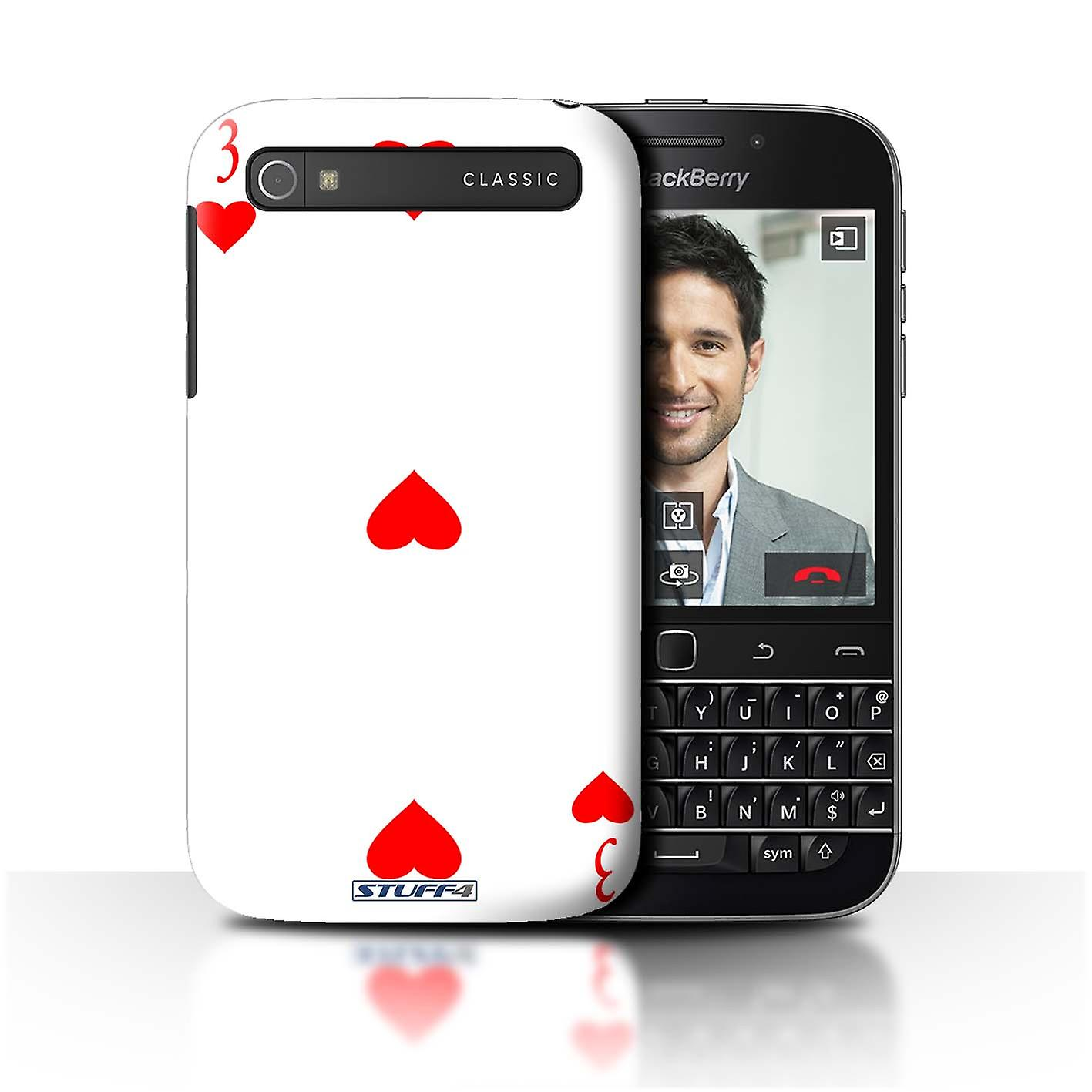 STUFF4 Case/Cover for Blackberry Classic/Q20/3 of Hearts/Playing Cards