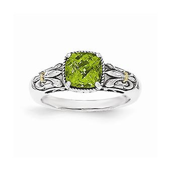 925 Sterling Silver With 14k Peridot Ring - Ring Size: 6 to 8