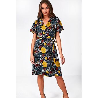 iClothing Leo Short Wrap Dress In Autumn Floral Print-16
