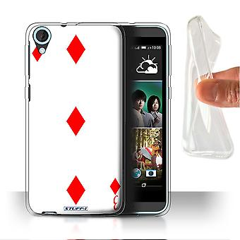STUFF4 Gel/TPU Case/Cover for HTC Desire 820q Dual/3 of Diamonds/Playing Cards