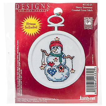 Starry Snowman Mini Counted Cross Stitch Kit-2.5
