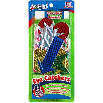 Eye Catchers Neon & Holographic Shapes 85 Pkg With Glue Stick Pa1218