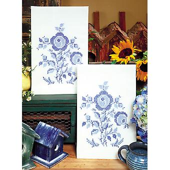 Stamped Kitchen Towels For Embroidery Blue Rose T264049