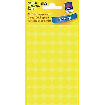 Avery-Zweckform 3144 Labels (hand writable) Ø 12 mm Paper Yellow 270 pc(s) Permanent Sticky dots