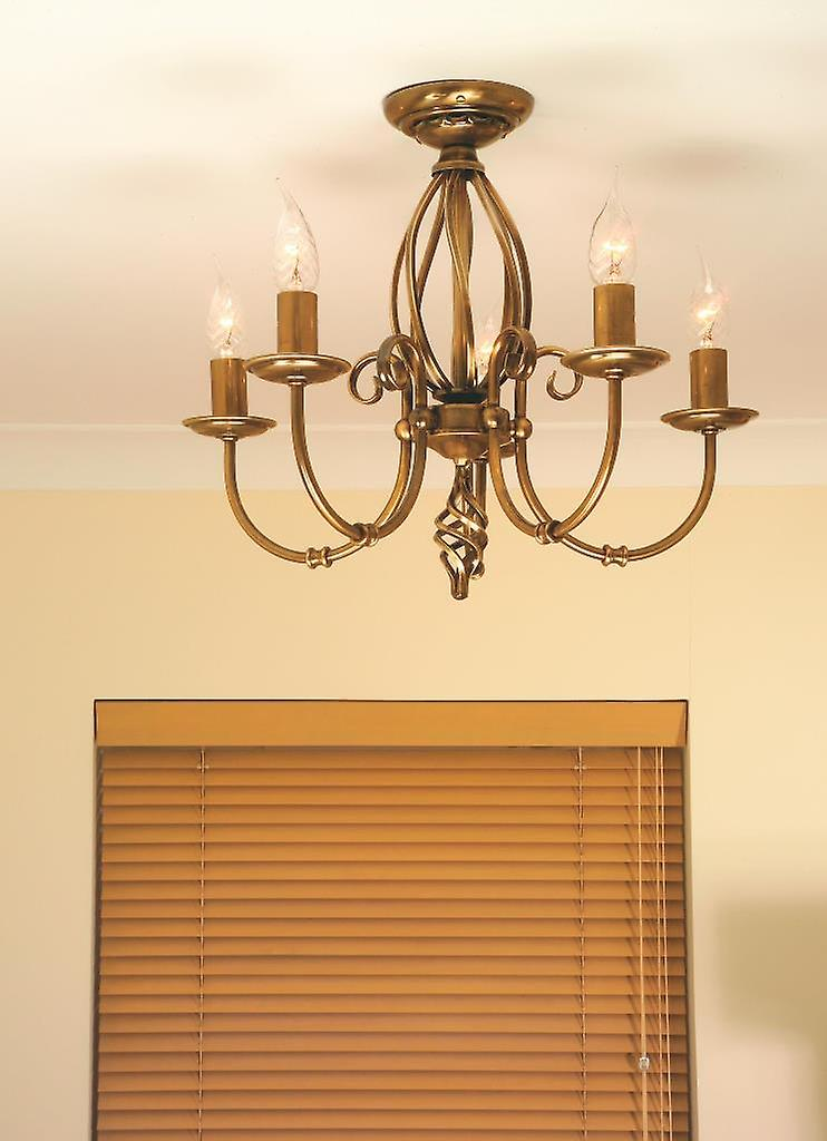 Elstead ART5 AGD BRASS Artisan Traditional Aged Brass 5 Arm Chandelier with Knot Detail