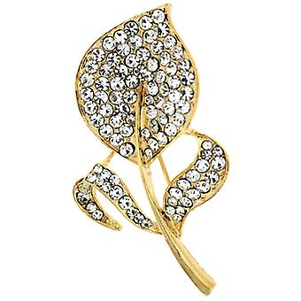 Brooches Store Gold & Crystal Flat Leaf Corsage Brooch