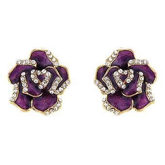 Clip On Earrings Store Purple Enamel & Clear Crystal Rose Clip On Earrings