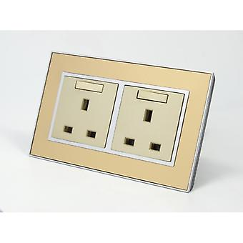 I LumoS AS Luxury Gold Mirror Glass Double Switched Wall Plug 13A UK Sockets