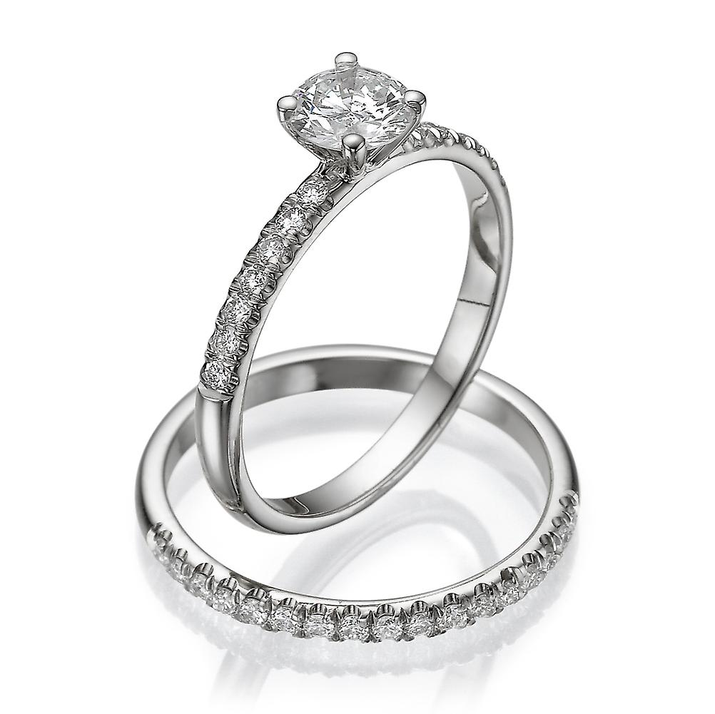 Moissanite Ring Forever One 1.07 CTW 6.00MM with Diamonds 14K White Gold