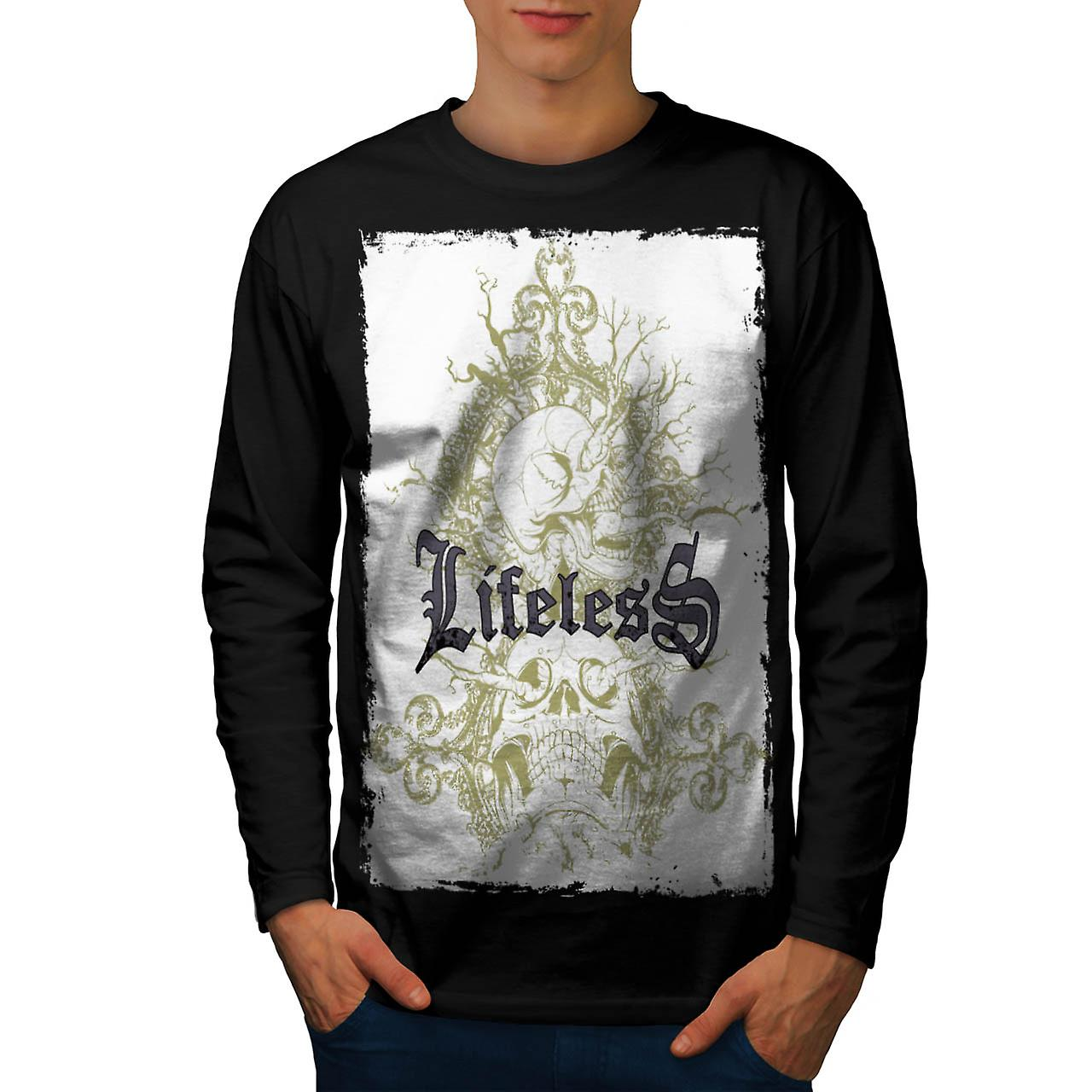 Lifeless Soul Skull Grave Yard Men Black Long Sleeve T-shirt | Wellcoda