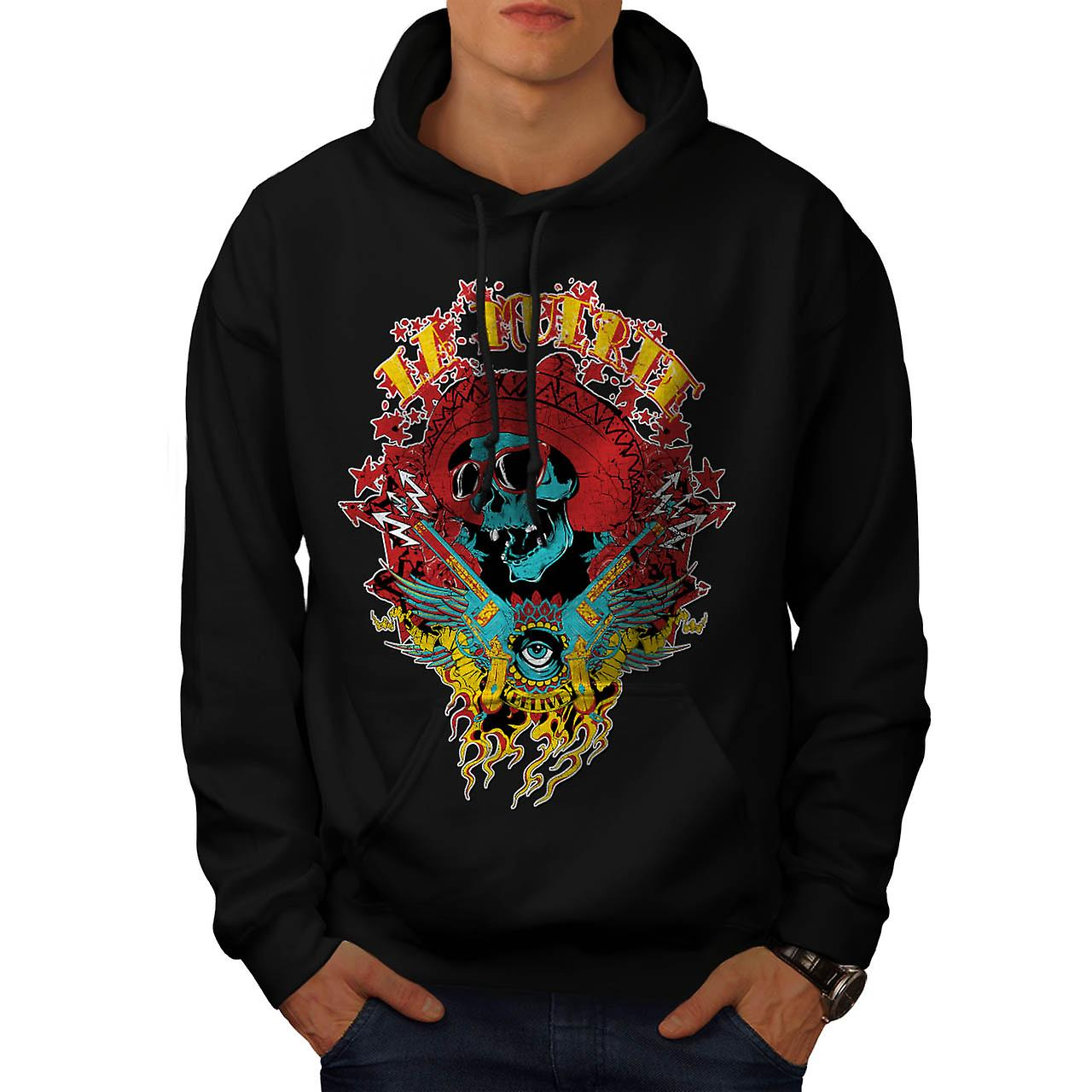 Mexico Skull Gun Life Shade Head Men Black Hoodie | Wellcoda