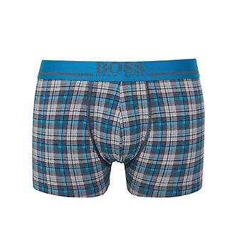 BOSS Blue & Grey Marl Checked Boxer Trunks