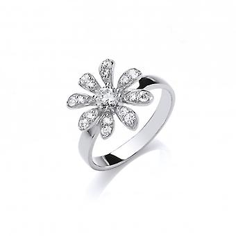 Cavendish French CZ and Sterling Silver Daisy Ring