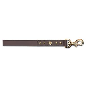 Leather Dlx B/terrier Lead Hamemaker Stud Brn 105cm X25mm Sz 6-8
