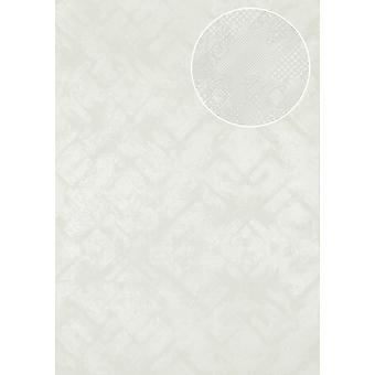 Graphic wallpaper Atlas SIG-580-0 non-woven wallpaper textured with abstract pattern shimmering white pure white perl white 5.33 m2