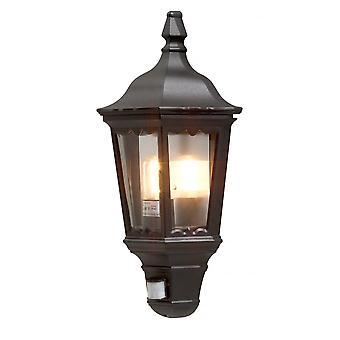Konstsmide Firenze Black Half Lantern With PIR